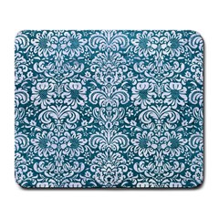 Damask2 White Marble & Teal Leather Large Mousepads by trendistuff