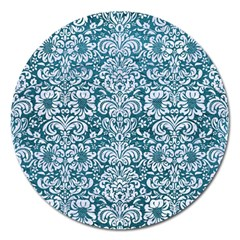 Damask2 White Marble & Teal Leather Magnet 5  (round) by trendistuff