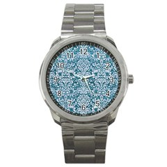 Damask2 White Marble & Teal Leather Sport Metal Watch by trendistuff