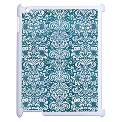 Damask2 White Marble & Teal Leather Apple Ipad 2 Case (white) by trendistuff