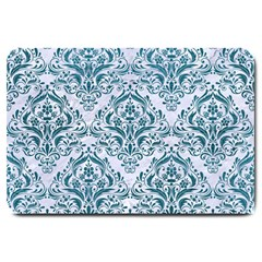 Damask1 White Marble & Teal Leather (r) Large Doormat  by trendistuff