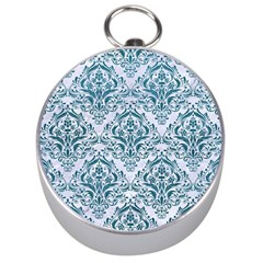 Damask1 White Marble & Teal Leather (r) Silver Compasses by trendistuff