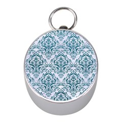 Damask1 White Marble & Teal Leather (r) Mini Silver Compasses by trendistuff