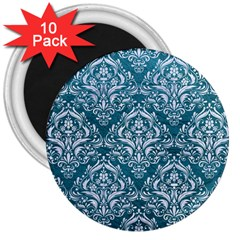 Damask1 White Marble & Teal Leather 3  Magnets (10 Pack)  by trendistuff