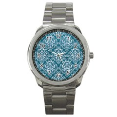 Damask1 White Marble & Teal Leather Sport Metal Watch by trendistuff