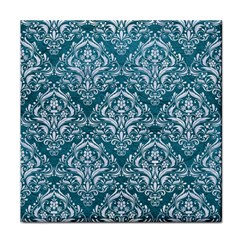Damask1 White Marble & Teal Leather Face Towel by trendistuff