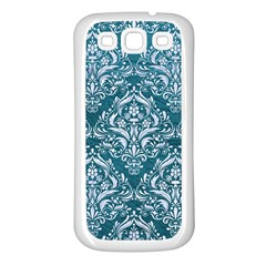 Damask1 White Marble & Teal Leather Samsung Galaxy S3 Back Case (white) by trendistuff