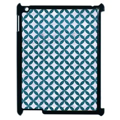 Circles3 White Marble & Teal Leather (r) Apple Ipad 2 Case (black) by trendistuff