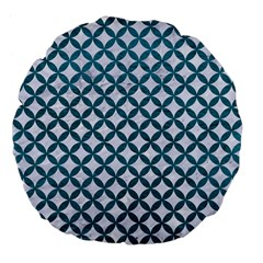 Circles3 White Marble & Teal Leather (r) Large 18  Premium Flano Round Cushions by trendistuff