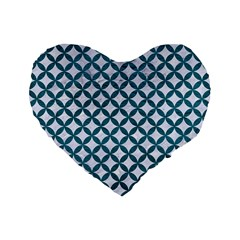 Circles3 White Marble & Teal Leather (r) Standard 16  Premium Flano Heart Shape Cushions by trendistuff