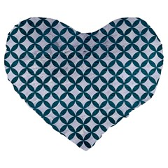 Circles3 White Marble & Teal Leather (r) Large 19  Premium Flano Heart Shape Cushions by trendistuff