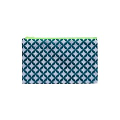 Circles3 White Marble & Teal Leather (r) Cosmetic Bag (xs) by trendistuff