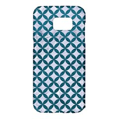 Circles3 White Marble & Teal Leather (r) Samsung Galaxy S7 Edge Hardshell Case