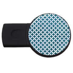 Circles3 White Marble & Teal Leather Usb Flash Drive Round (4 Gb) by trendistuff