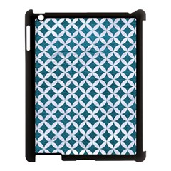 Circles3 White Marble & Teal Leather Apple Ipad 3/4 Case (black) by trendistuff