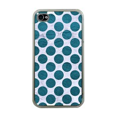 Circles2 White Marble & Teal Leather (r) Apple Iphone 4 Case (clear) by trendistuff