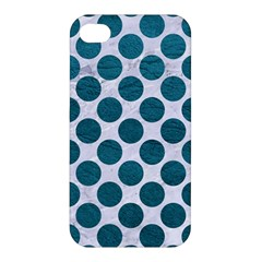 Circles2 White Marble & Teal Leather (r) Apple Iphone 4/4s Hardshell Case by trendistuff