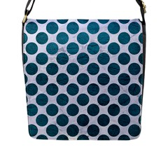 Circles2 White Marble & Teal Leather (r) Flap Messenger Bag (l)  by trendistuff