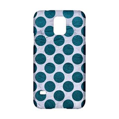 Circles2 White Marble & Teal Leather (r) Samsung Galaxy S5 Hardshell Case  by trendistuff