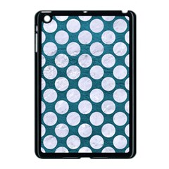 Circles2 White Marble & Teal Leather Apple Ipad Mini Case (black) by trendistuff
