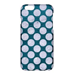 Circles2 White Marble & Teal Leather Apple Iphone 6 Plus/6s Plus Hardshell Case by trendistuff