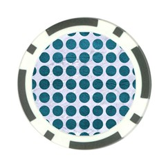 Circles1 White Marble & Teal Leather (r) Poker Chip Card Guard (10 Pack)