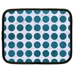 Circles1 White Marble & Teal Leather (r) Netbook Case (xxl)  by trendistuff