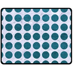 Circles1 White Marble & Teal Leather (r) Fleece Blanket (medium)  by trendistuff
