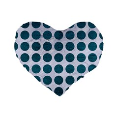 Circles1 White Marble & Teal Leather (r) Standard 16  Premium Flano Heart Shape Cushions by trendistuff
