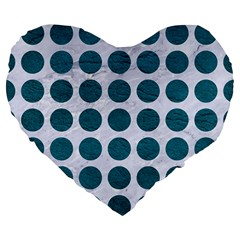 Circles1 White Marble & Teal Leather (r) Large 19  Premium Flano Heart Shape Cushions by trendistuff