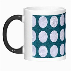Circles1 White Marble & Teal Leather Morph Mugs by trendistuff