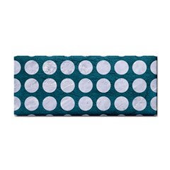 Circles1 White Marble & Teal Leather Cosmetic Storage Cases by trendistuff