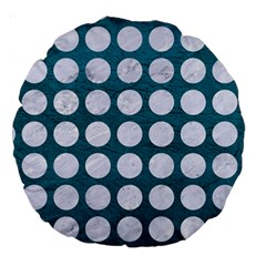 Circles1 White Marble & Teal Leather Large 18  Premium Round Cushions by trendistuff