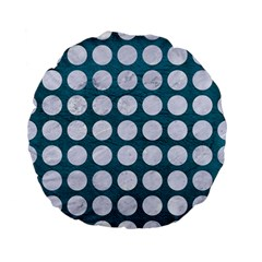 Circles1 White Marble & Teal Leather Standard 15  Premium Flano Round Cushions by trendistuff