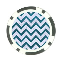 Chevron9 White Marble & Teal Leather (r) Poker Chip Card Guard (10 Pack)