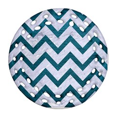 Chevron9 White Marble & Teal Leather (r) Ornament (round Filigree) by trendistuff