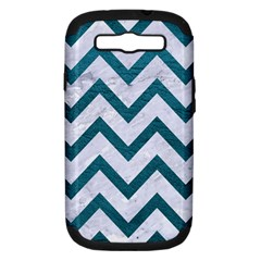 Chevron9 White Marble & Teal Leather (r) Samsung Galaxy S Iii Hardshell Case (pc+silicone) by trendistuff