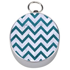 Chevron9 White Marble & Teal Leather (r) Silver Compasses by trendistuff