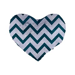 Chevron9 White Marble & Teal Leather (r) Standard 16  Premium Flano Heart Shape Cushions by trendistuff