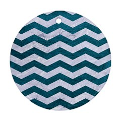 Chevron3 White Marble & Teal Leather Ornament (round) by trendistuff