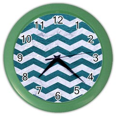 Chevron3 White Marble & Teal Leather Color Wall Clocks by trendistuff
