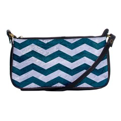 Chevron3 White Marble & Teal Leather Shoulder Clutch Bags by trendistuff
