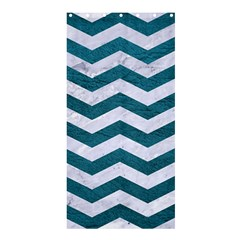 Chevron3 White Marble & Teal Leather Shower Curtain 36  X 72  (stall)  by trendistuff