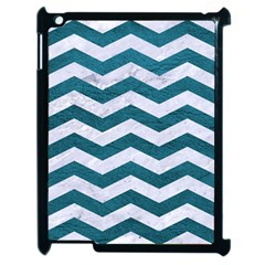 Chevron3 White Marble & Teal Leather Apple Ipad 2 Case (black) by trendistuff
