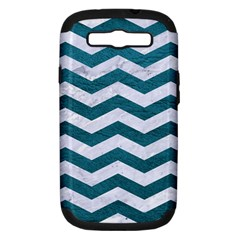 Chevron3 White Marble & Teal Leather Samsung Galaxy S Iii Hardshell Case (pc+silicone) by trendistuff