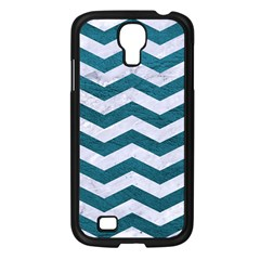 Chevron3 White Marble & Teal Leather Samsung Galaxy S4 I9500/ I9505 Case (black) by trendistuff