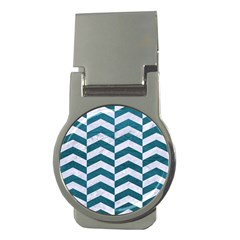 Chevron2 White Marble & Teal Leather Money Clips (round)  by trendistuff