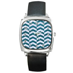 Chevron2 White Marble & Teal Leather Square Metal Watch by trendistuff
