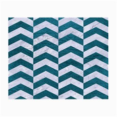 Chevron2 White Marble & Teal Leather Small Glasses Cloth (2 Side)