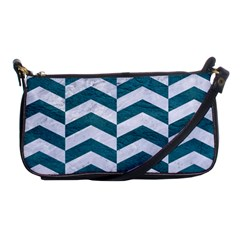 Chevron2 White Marble & Teal Leather Shoulder Clutch Bags by trendistuff